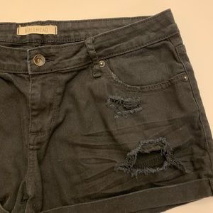Bullhead Shorts - Bullhead Black Distressed Jean Shorts